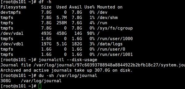 500G的磁盘journal用掉了300G